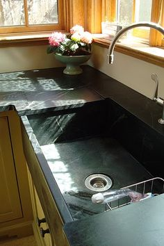 Soapstone countertops and sink
