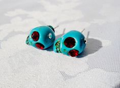Halloween Skull Earrings Red Czech Rhinestones Faux Turquoise Artisan Studs Skull Earrings Turquoise Pierced Jewelry Day of the Dead, by BagsnBling on Etsy