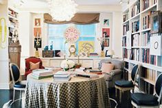 books in a dining room
