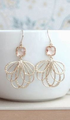 Feather Peach Blush Wedding Gold Earrings