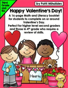 I am really excited about this booklet! It's full of 16 purposeful, curriculum-related Math and Literacy pages for third grade students to complete on or around Valentine's Day. This would also be a great activity for students in fourth grade on modified programs or those students in second grade working at a higher level. The worksheets are centered around the original story about a group of students who are planning a class Valentine's Day party.