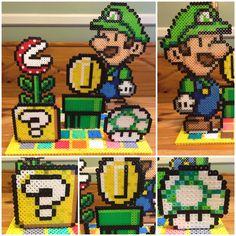 Perler Bead Mario Bros 5 Piece Stand Up Scene