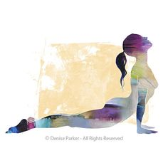 Yoga Art UPWARD FACING DOG small Yoga Wall Art Yoga by YogaColors