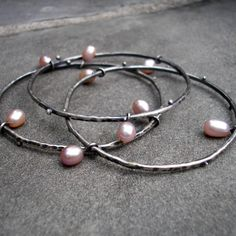 Sterling Silver Bangles - Silver Stacking Bangles - Sterling Pearl Bangles - Silver Pink Pearl Stacking Bracelets - Heavy Stacking Bangles by lsueszabo on Etsy https://www.etsy.com/listing/159964647/sterling-silver-bangles-silver-stacking