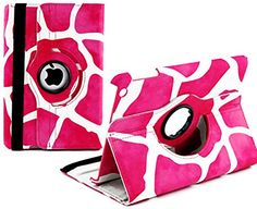 """myLife Hot Pink and Snowy White {Colorful Natural Giraffe} 360 Degree Rotating Case for Apple iPad Mini 1, 2 and 3 (High Quality Koskin Faux Leather Cover + Slim Lightweight Design) """"All Ports Accessible"""" myLife Brand Products http://www.amazon.com/dp/B00TSVB66O/ref=cm_sw_r_pi_dp_WOgdvb1WJME2M"""