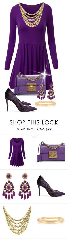 """""""Perfectly Purple"""" by shamrockclover ❤ liked on Polyvore featuring WithChic, Gucci, Kenneth Jay Lane, Carlos by Carlos Santana and Marco Bicego"""