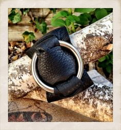 Soft Black Leather cuff bracelet with sliver ring by TornTo, $37.00