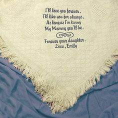 Mother of the Bride Gift Embroidered Wedding Blanket Cotton Throw. For more personalized blanket ideas, click here to view my shop, Couture Wedding Hankie