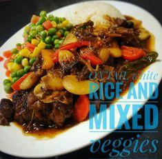Oxtail #oxtail #jamaicanfood  #jamaica  #caribbean Oxtail, Jamaican Recipes, Pot Roast, Caribbean, Food And Drink, Veggies, Rice, Beef, Ethnic Recipes