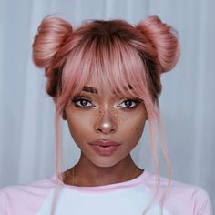 A Pink Hair Coloring Comprehensive Guide to getting that light pastel pink hair dye transform into a stunningly beautiful ombre pink hair styles and types. Two Buns Hairstyle, Bun Hairstyles, Pretty Hairstyles, Hairstyle Ideas, Bangs Hairstyle, Woman Hairstyles, Hair Inspo, Hair Inspiration, Bikini Inspiration