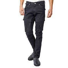b84f0b97 KAYDEN.K Men's Front Cargo Pocket Distressed Premium Slim Jeans pants at Amazon  Men's Clothing store:
