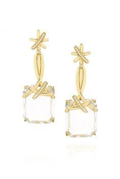 Brinco My Way em ouro com cristal de quartzo