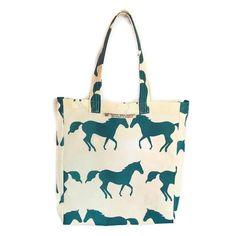 Anorak Kissing Horses PVC cotton tote bag - £18.00