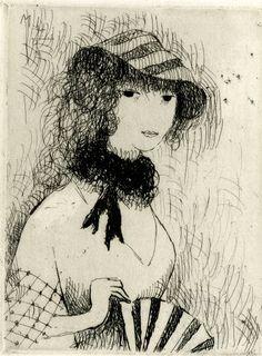 Marie Laurencin (1883-1956), 1923, Jeune fille à l'éventail, etching. (F)