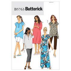 Butterick B5763 Women's Maternity Top Dress Belt Shorts & Pants
