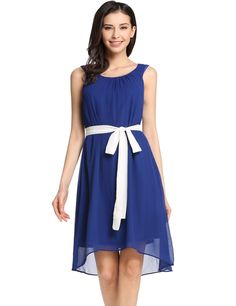 O-Neck Sleeveless Solid Pleated Asymmetrical Hem Wedding Bridesmaid Dresses