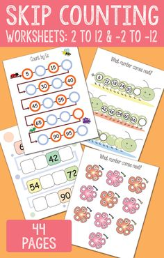 Skip Counting Worksheets from 2 to 12 and -2 to -12
