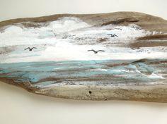 Peinture bois flotté scène côtière paysage marin par beachsweet