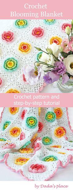 Easy Crochet Afghans Blooming Blanket crochet blanket pattern is beginner friendly with lots of step-by- step pictures. Crochet Blanket Tutorial, Easy Crochet Blanket, Crochet For Beginners Blanket, Knitting For Beginners, Beginner Crochet, Crochet Blankets, Bag Crochet, Manta Crochet, Crochet Baby Hats