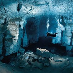 Love to scuba dive? Then exploring the Orda Cave in Russia's Ural region is just the adventure you've been looking for. The water in this cave is so clear that you can see over fifty yards ahead of you while diving. Lago Moraine, Underwater Caves, Underground World, Best Scuba Diving, Cave Diving, Crystal Clear Water, Underwater Photography, Places To Visit, Around The Worlds