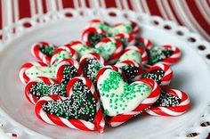 Easy idea - mini candy canes, melted chocolate and sprinkles.