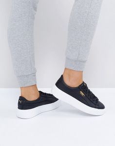PUMA LEATHER BASKET PLATFORM SNEAKERS IN BLACK - WHITE. #puma #shoes #