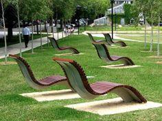 Urban Furniture, Street Furniture, Furniture Design, Outdoor Furniture, Metal Furniture, Banco Exterior, Adirondack Chairs For Sale, Bench Designs, Public Seating