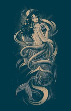 Mermaid with Skull and Anchor