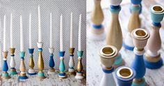 Pin for Later: The Prettiest DIY Menorahs on the Internet Colorblock Menorah These vibrant colorblock candlesticks will pop against any holiday tablescape!