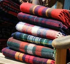 Plaid wool blankets, best with hot chocolate and marshmallows by an open fire!
