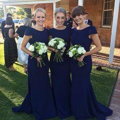 Brautjungfernkleider Lang Blau Satin Meerjungfrau Günstig Kleider Für Brautjungfern