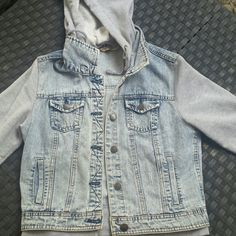 Jean and sweater jacket Hooded, buttons all the way down, good used condition Highway Jeans Jackets & Coats Jean Jackets