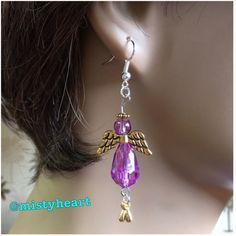 "Purple Angel Hook Earrings Brand new. Handmade by me. Purple glass with gold toned wings and halo. 2 1/4"" Tall. Jewelry Earrings"
