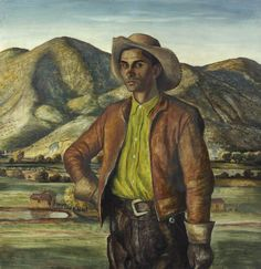"Here is ""José Herrera"" by Peter Hurd. Born and raised in Roswell, New Mexico, Peter Hurd painted the people and landscape of nearby San Patricio, where he maintained a cattle ranch. José Herrera was a farm hand on the Hurd ranch for more than 20 years. Hurd painted his friend many times and once called him ""one of the most paintogenic people I know."" Here he is shown looking directly out at the viewer against a panoramic view of the Hondo Valley."