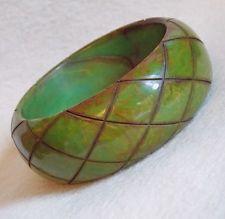 CARVED BAKELITE End of Day Green WIDE Vintage Estate Bangle Bracelet