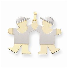 14k Two-tone Large Twin Boys With Hats Kiss Charm