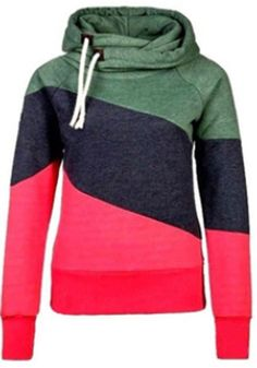 Green Patchwork Drawstring Casual Pullover Hooded Sweatshirt