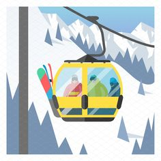 Snowboarder sitting in ski gondola and lift elevators. Alpine Skiing, Snowboarding, Monopoly, Graphic Illustration, Backgrounds, Around The Worlds, Sports, Snow Board, Hs Sports