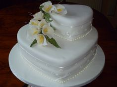 Two Tier White Heart Wedding Cake