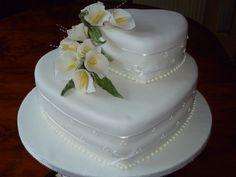 Two Tier White Heart Wedding Cake