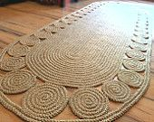 9 x 3 ft Unique decorative jute rug oval Crochet / Braided Rag Rug