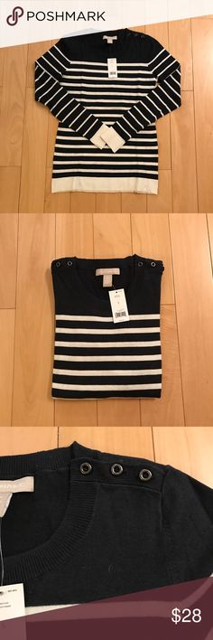 BR cotton sweater Brand new with tag BR cotton sweater, navy blue and white stripes, shoulder button closure, very soft and great any occasion. Banana Republic Sweaters Crew & Scoop Necks