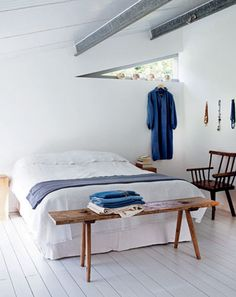 Blue and white room.