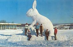 Boyne Falls MI RARE Ice Sculpture at Boyne Mountain Snow and Ice Sculptures were a popular attraction at Ski Resorts in the and Bob Miles Photo Card Unsent Giant Bunny, Big Bunny, Bunny Art, Giant Rabbit, Ski Bunnies, Bunny Rabbits, Ice Art, Snow Sculptures, Snow Art