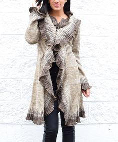 Look what I found on #zulily! Beige Lace Wool-Blend Open Cardigan - Women by  #zulilyfinds