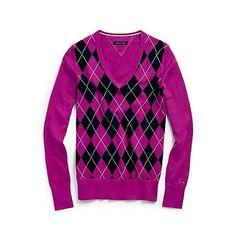 Tommy Hilfiger Womens Ivy Argyle V Neck Sweater 100 Pima Cotton Pullover | eBay