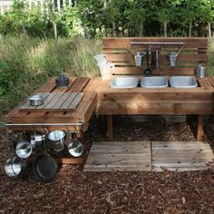 Large Mud Kitchen made from old decking