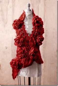 Scarlet Red Crochet Scarf with Roses.