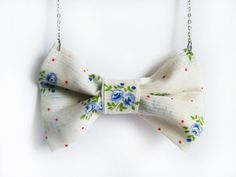 Flower Bow Necklace  Fabric Bow  Fabric Jewelry  Blue by FlosCaeli,