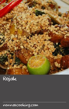 Rojak | This is the freshest tasting salad – crunchy fruit and vegetables with fried tofu in a sweetly sticky, slightly sour dressing, sprinkled with roasted peanuts. It includes some unusual ingredients, but they can be found at Asian grocers. Yam bean (also called jicama) is a pale brown tuber with crisp white, slightly sweet flesh. Water spinach (called kang kong in Malay but common throughout Asia) is a crunchy, hollow-stemmed green with long pointed leaves. Fried dough sticks are… Fresh Vegetable Salad Recipes, Fruit Salad Recipes, Meal Recipes, Fresh Vegetables, Brunch Recipes, Deep Fried Dough Recipe, Fried Dough Recipes, Swede Recipes, Top Salad Recipe